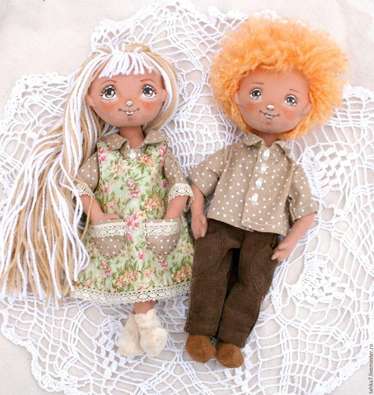 Купить Пара игровых кукол. - бежевый, кукла ручной работы, тыквоголовка, кукла для девочки