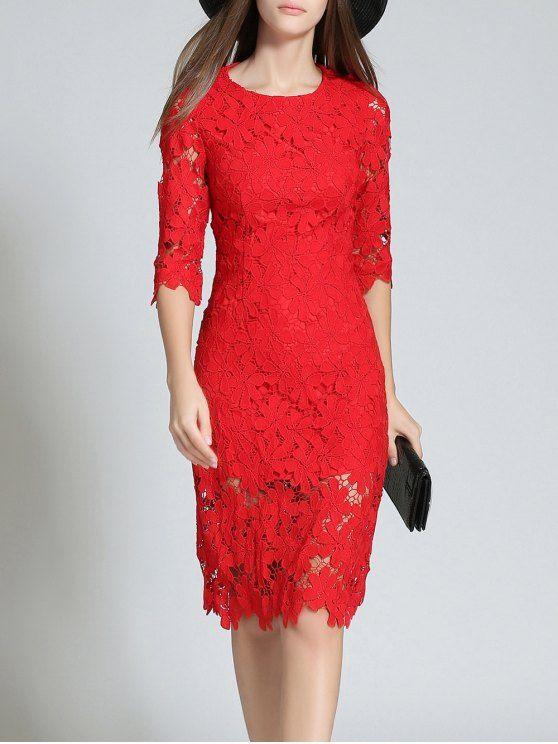 Girocollo maniche 3/4 piena del merletto Vestito aderente - XL RED
