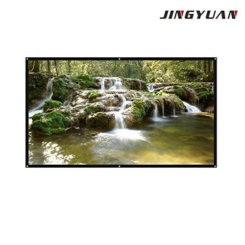 JingYuan 84 Inch 16: 9 Portable Tabletop Projector Screen For Outdoor Movie Theater ,Home Theater , Business Meetings Projection Screen  【Application】Portable projector projection screen ,it is an ideal choice for home theater movies, classroom training, conference room presentations,outdoor movie screen.  【Portable】Extremely Light,convenient to carry around,exquisite design Its screen diagonal perforation and exquisite hook & loop fastening on the back, easy installation and disassemb...