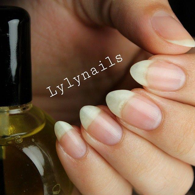 Long natural almond nails