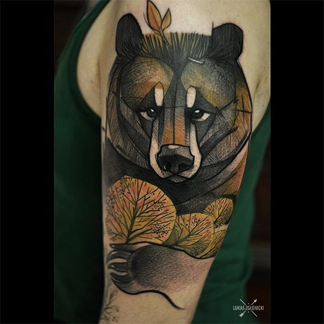 Tattoo by Lukasz Zglenicki: Meet Teddy the guardian #tattoo #cykada #thebesttattooartists #tattooartistmagazine #bear #beartattoo #autumnforest