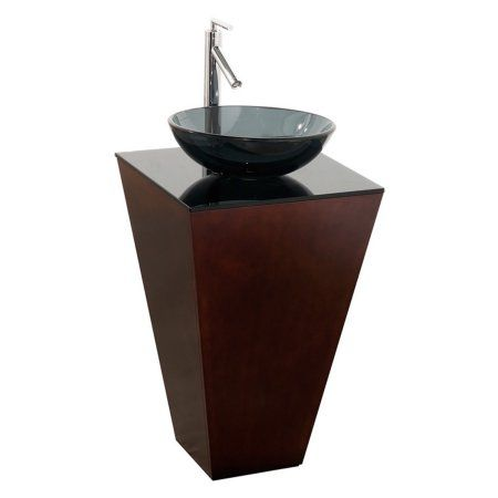 Wyndham Collection Esprit 20 inch Pedestal Bathroom Vanity in Espresso, Smoke Glass Countertop, Smoke Glass Sink and 20 inch Mirror, Brown