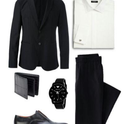 черный мужской костюм лук в стиле бизнес