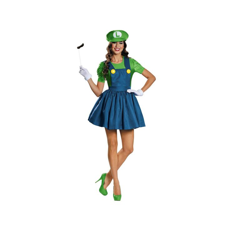 Super Mario Bros. Luigi Costume - Adult, Women's, Size: 12-14, Multicolor