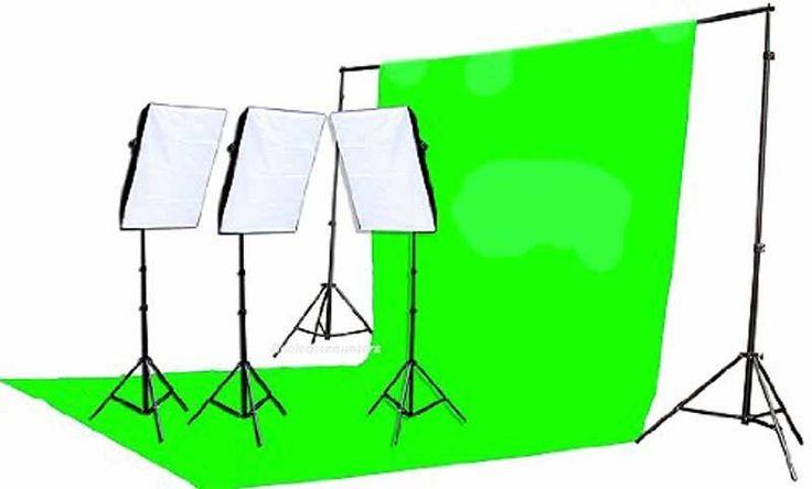 2400 Watt Chromakey Green Screen Video Photo Lighting Kit W/ Softbox Light Kit