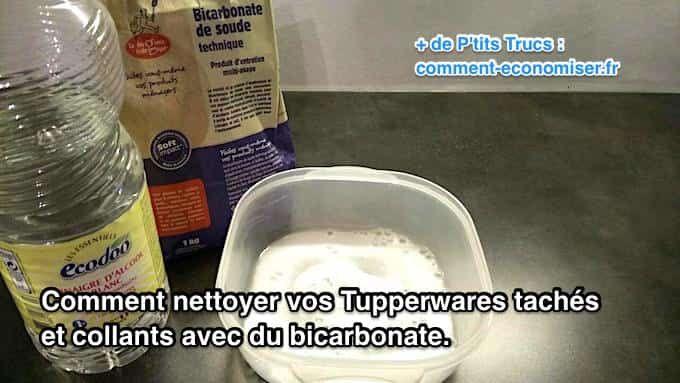 Il existe un truc simple et rapide pour nettoyer vos Tupperware et les retrouver comme neufs. L'astuce est de les nettoyer avec du bicarbonate de soude et du vinaigre blanc. Regardez :-)  Découvrez l'astuce ici : http://www.comment-economiser.fr/nettoyer-tupperwares-taches-et-collants-avec-du-bicarbonate.html?utm_content=buffer61304&utm_medium=social&utm_source=pinterest.com&utm_campaign=buffer