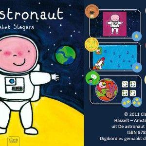 Digibordles-de-astronaut Digibordles bij het prentenboek 'De astronaut' van Liesbet Slegers. Deze les bevat 6 spelen waarbij spelenderwijs aan verschillende doelen wordt gewerkt; woordenschat, ruimtelijk inzicht, beginklanken, (af)tellen, visuele waarneming, visueel geheugen en begrippen: veraf en dichtbij. In deze digibordles zijn veel leuke animaties verwerkt en is zeker een waardevolle aanvulling op het gebruik van het boek. De kinderen zullen zeker genieten van het spelen van deze les.
