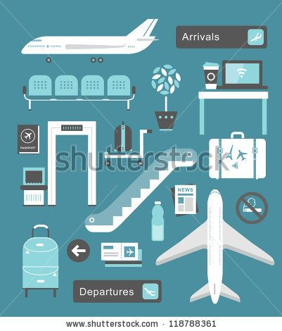 stock vector : Vector set of cute airport icons and signs