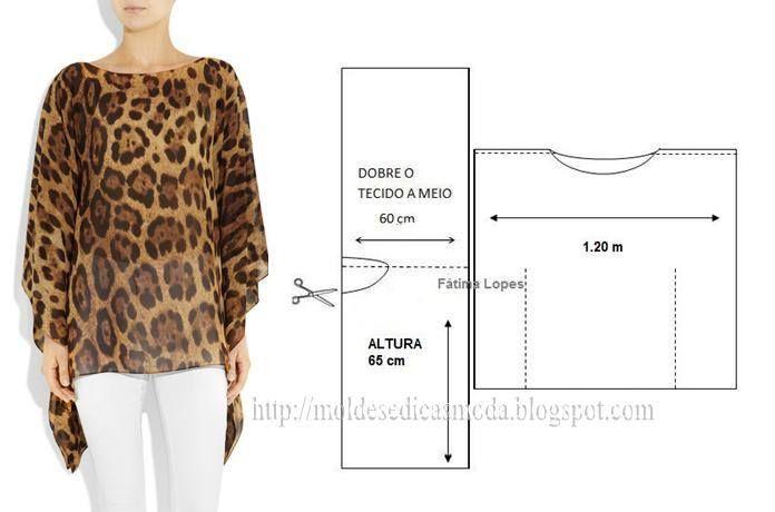 PASSO A PASSO CORTE E COSTURA DE TÚNICA Corte um retângulo de tecido com a altura pretendida e largura. Dobre a meio o retângulo. Desenhe o decote, com a l