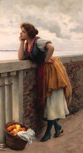 Daydreams, Eugene de Blaas. Austrian (1843 - 1932) - what is she dreaming?
