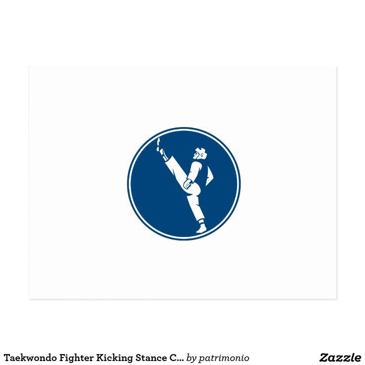 Taekwondo Fighter Kicking Stance Circle Icon Postcard. Icon illustration of a man in taekwondo fighter kicking stance viewed from side set inside circle on isolated background done in retro style. #taekwondo #olympics #sports #summergames #rio2016 #olympics2016