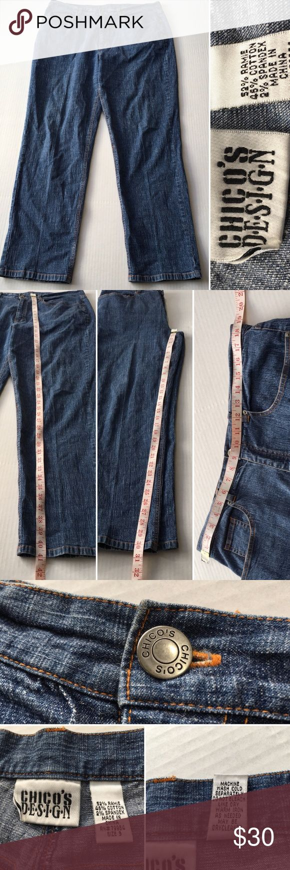 Chico's size 3 - 16 jeans Chico jeans size 3 /16. Very good used condition. Minor faded spot on back leg cuff. Maybe washable. Measurements included. Smoke and pet free. Chico's Jeans Straight Leg