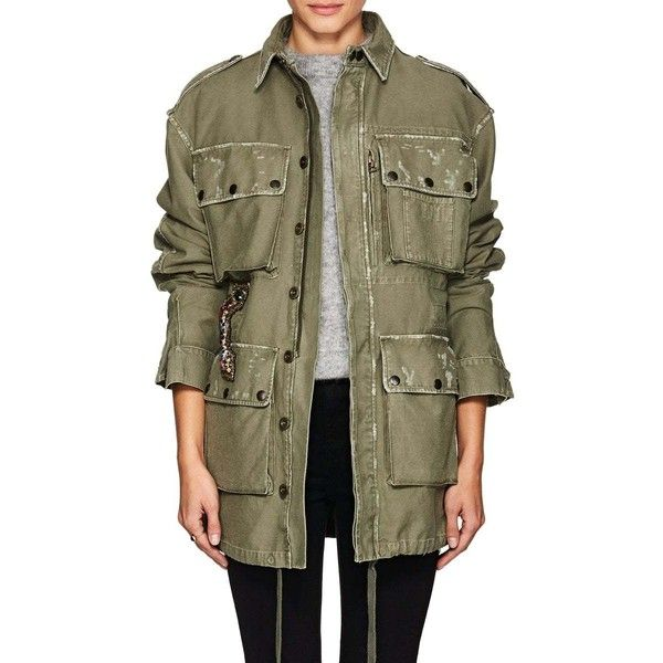 Faith Connexion Women's Embellished Cotton Field Jacket (€1.495) ❤ liked on Polyvore featuring outerwear, jackets, green, military utility jacket, pocket jacket, army green jackets, field jackets and cotton utility jacket