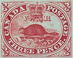 "1849-""Three penny beaver"" postage stamp"