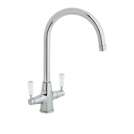 Lamona Chrome and White Victorian swan neck monobloc tap