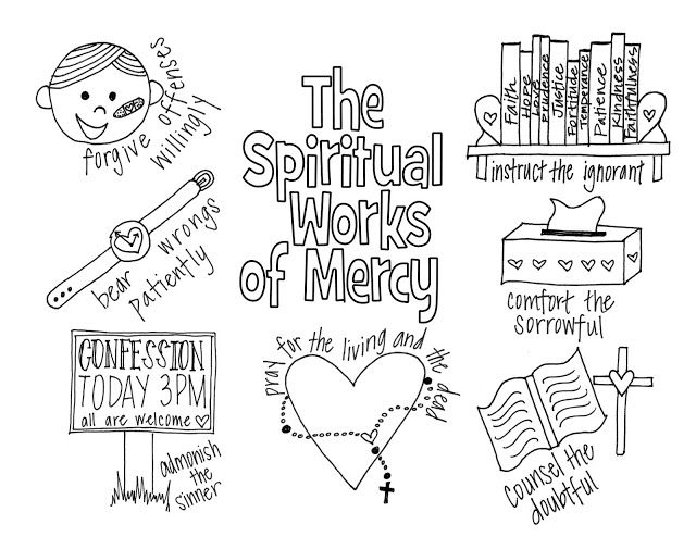 the spiritual works of mercy coloring page free printable for catholic kids year of mercy. Black Bedroom Furniture Sets. Home Design Ideas