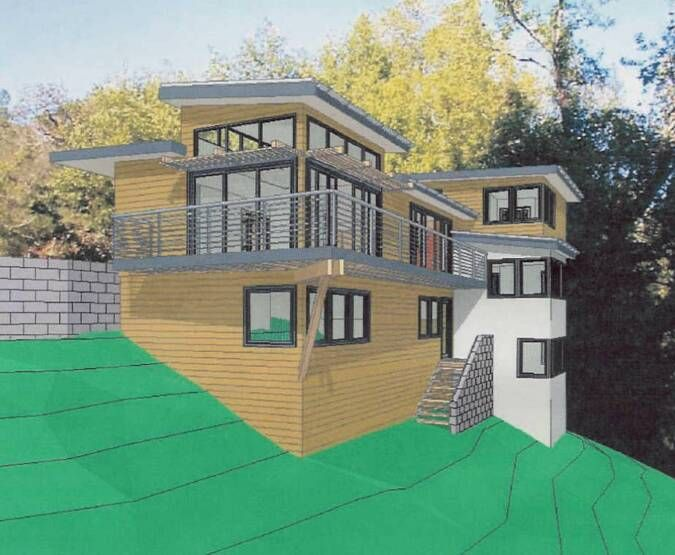 43 best images about house on slope on pinterest house for Steep hillside house plans