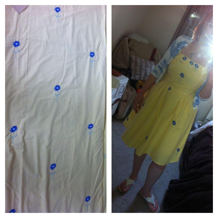 Little bit of 'bed linen shabby chic' - dress made from a duvet x