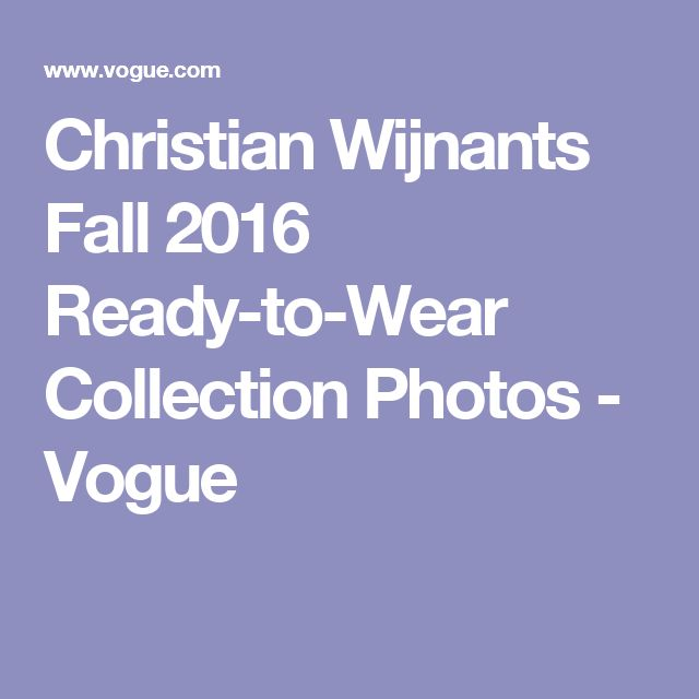 Christian Wijnants Fall 2016 Ready-to-Wear Collection Photos - Vogue
