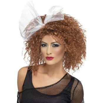 Bruine pruiken bij warenhuis Trendmax, Eighties krullen pruik,80s,brown,child,krullen,krullende,madonna,wig,wild