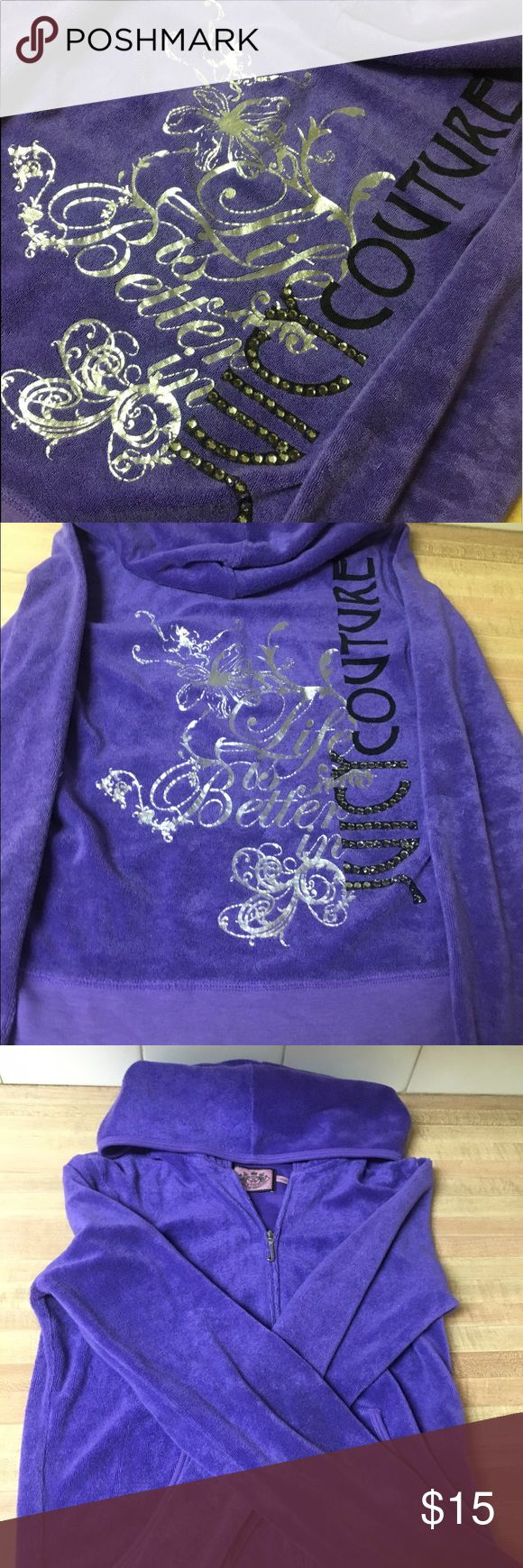 JUICY COUTURE PURPLE TERRY CLOTH HOODIE SIZE SMALL AUTHENTIC JUICY COUTURE PURPLE TERRY CLOTH EMBELLISHED HOODIE WOMENS SIZE SMALL VERY VERY GOOD CONDITION AS SHOWN IN PHOTOS!!!! COMES FROM SMOKE FREE & PET FREE HOME. PLEASE FEEL FREE TO SEND BEST OFFERS IF INTERESTED. PRICES ARE ALWAYS NEGOTIABLE !! Juicy Couture Tops Sweatshirts & Hoodies