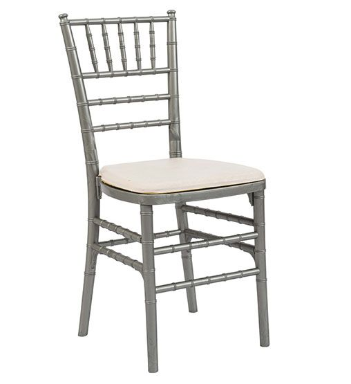 Chivari Chair - Silver with White seat pad