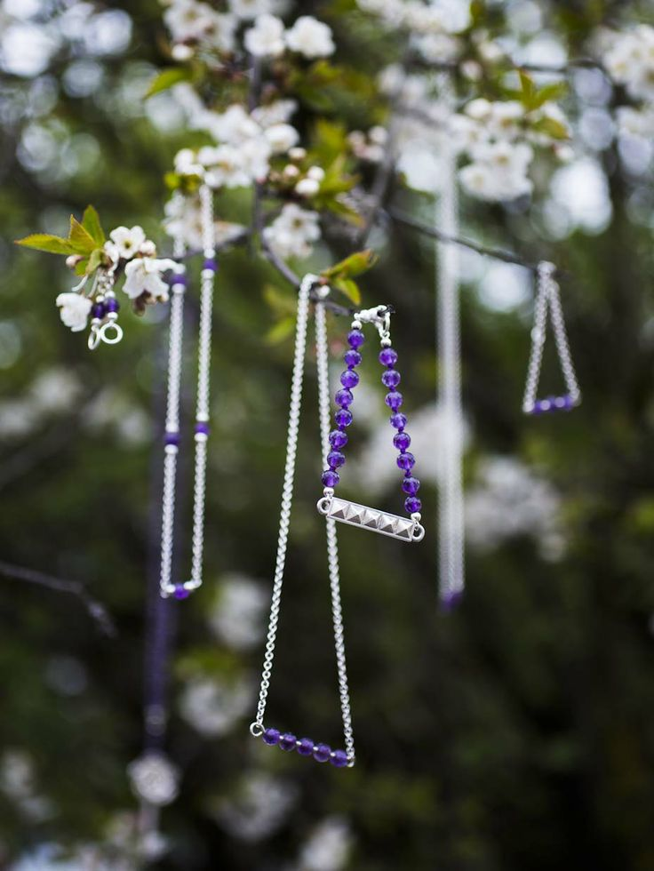 Silver and amethyst jewelry in our secret garden