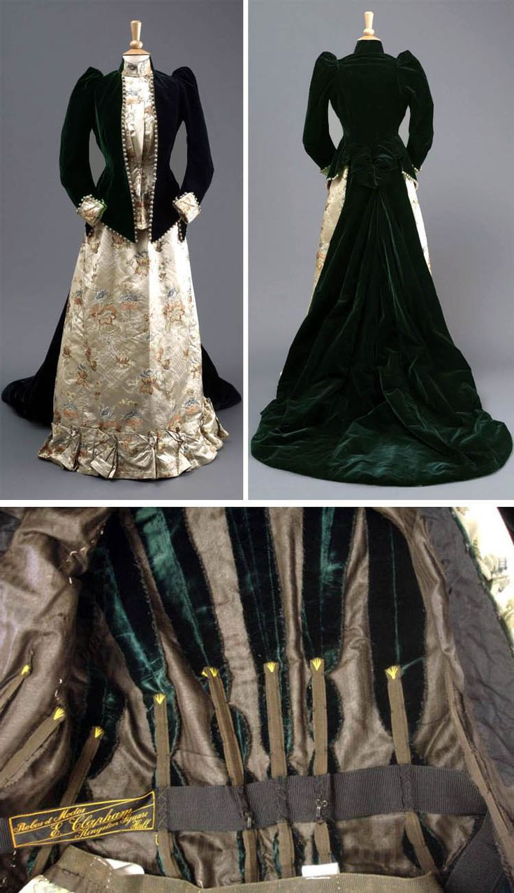 Dress for mother of the groom, Mme. E. Clapham, Hull, England, 1891. Jacket of bottle green velvet with a long trail at the back and a suit of ivory silk brocade. This dress was later adapted to a day dress with the addition of a beaded bottle green velvet waistcoat. Hull Museums via mylearning.org