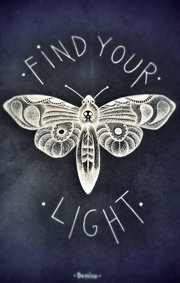White moth; black paper; Find your light; skull moth; fine art, dots art, white ink; black paper. by District44 on Etsy