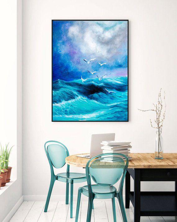 extra large horizon seascape wave painting modern acrylic painting rh pinterest es
