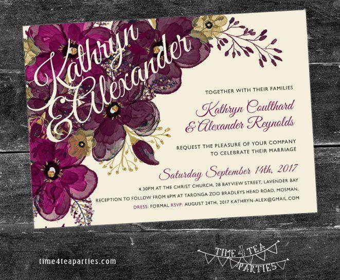 Purple, Plum & Pink Floral Wedding Invitation - Bridal Tea - Baby Shower - Kitchen Tea - High Tea - Birthday Tea party. Printable. by Time4TeaParties on Etsy