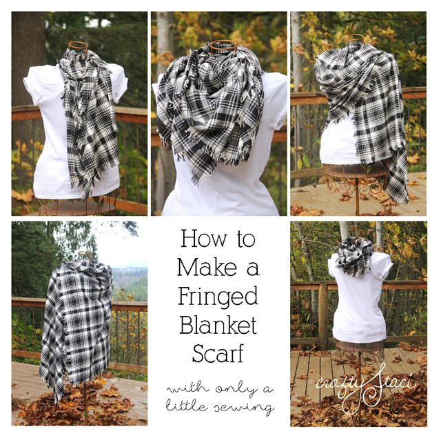 How to Make a Fringed Blanket Scarf from Crafty Staci