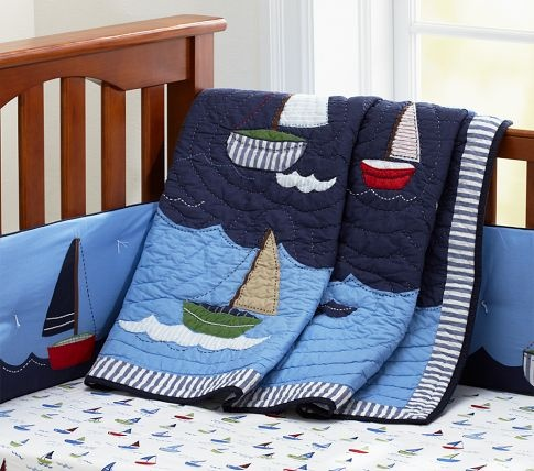 Crib bedding.   Nautical baby quilt, Pottery barn kids ...