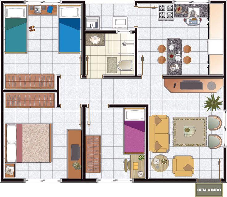 25 melhores ideias de plantas de casas gratis no for Modelo de casa pequena para construir