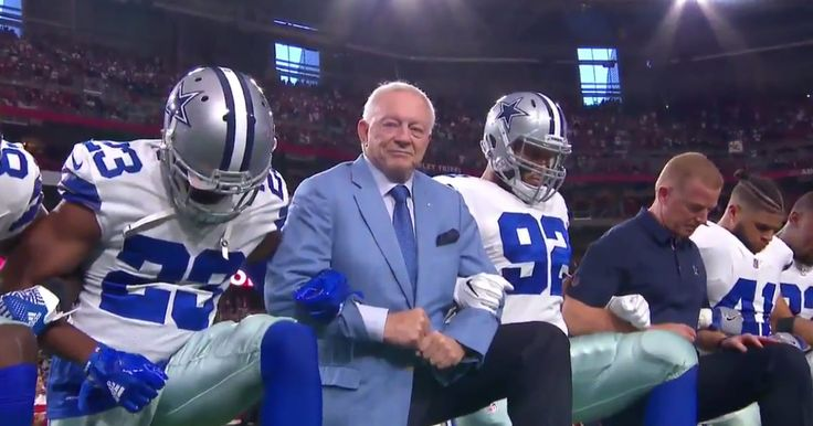 The Dallas Cowboys briefly took a knee on Monday night, joined by owner Jerry Jones in a display of solidarity with other protesting football teams.