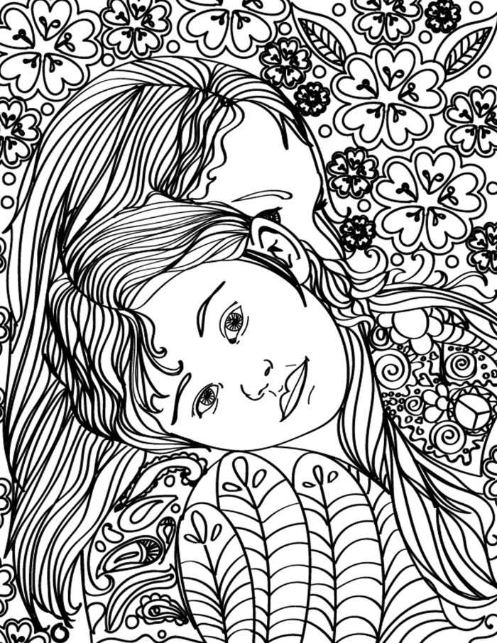 free printable mother daughter hugging adult coloring page - Coloring Free Pages
