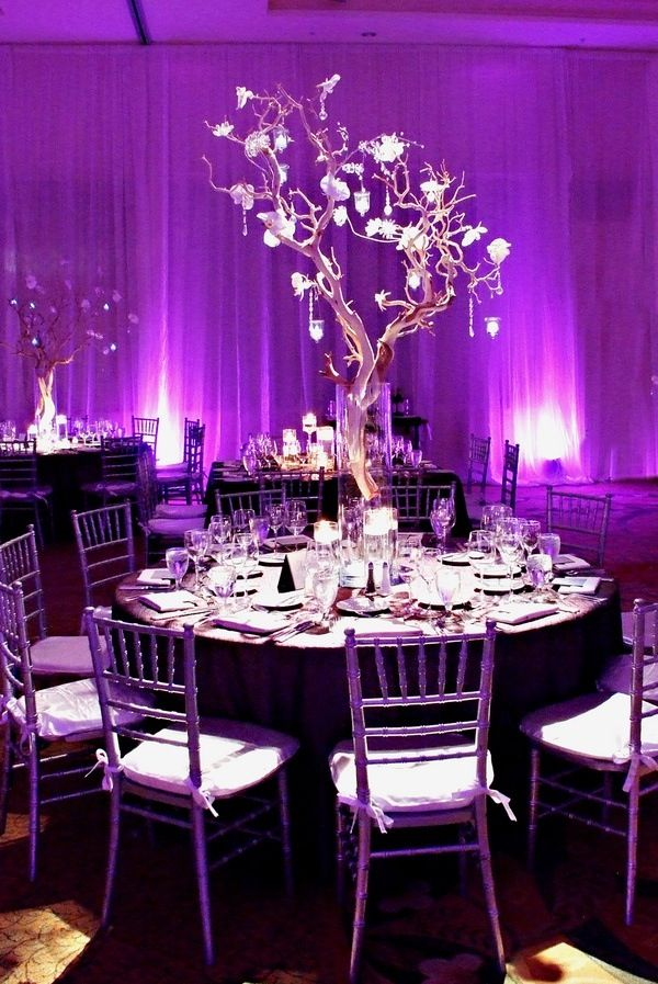 Easiest way to incorporate your wedding color into your day? It's all about lighting! #purpleweddings #weddingdecor