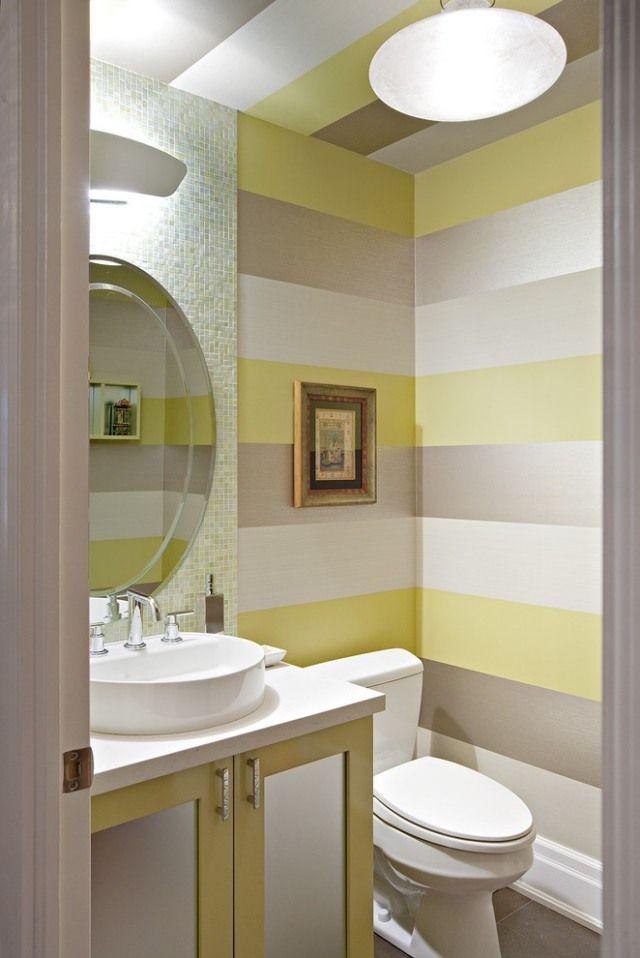 peinture salle de bains à rayures en jaune,gris et blanc