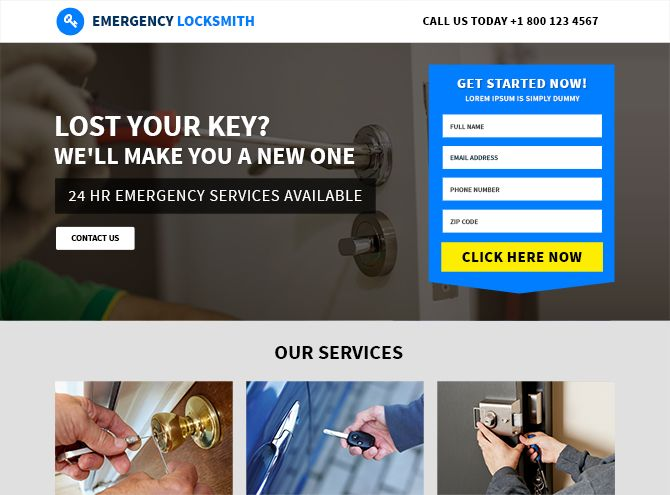 Affordable Locksmith Responsive Landing Page Template