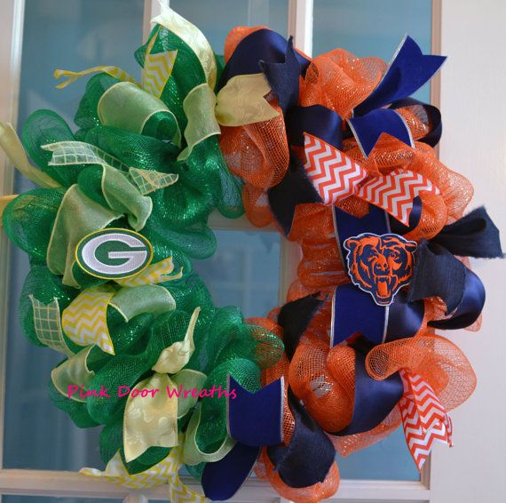 Made to Order - Wreath Chicago BEARS Green Bay PACKERS House Divided NFL football ribbons on Etsy, $55.00