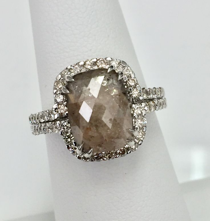 4.04 carat #Large #cushion #shape #natural #creamy #gray #color #Rose #cut #diamond, #modern #non-traditional #engagement #ring, #unique #creamy #gray #color #diamond , cushion cut, #elongated diamond ,  #boho, #organic , #rustic, #ooak, #bohemian #fashion, #anniversary #present $2490
