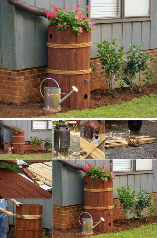 Diy Rain Barrel Planter Box Jardin Barrel Planter Planter