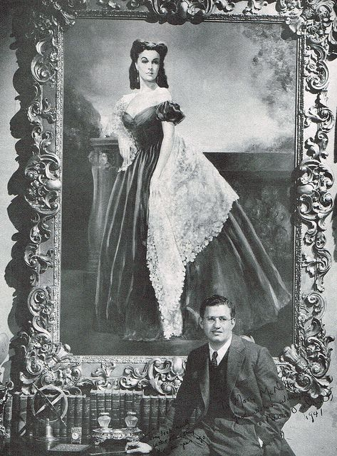 David OSelznick with the portrait of Vivien Leigh as Scarlett O'Hara