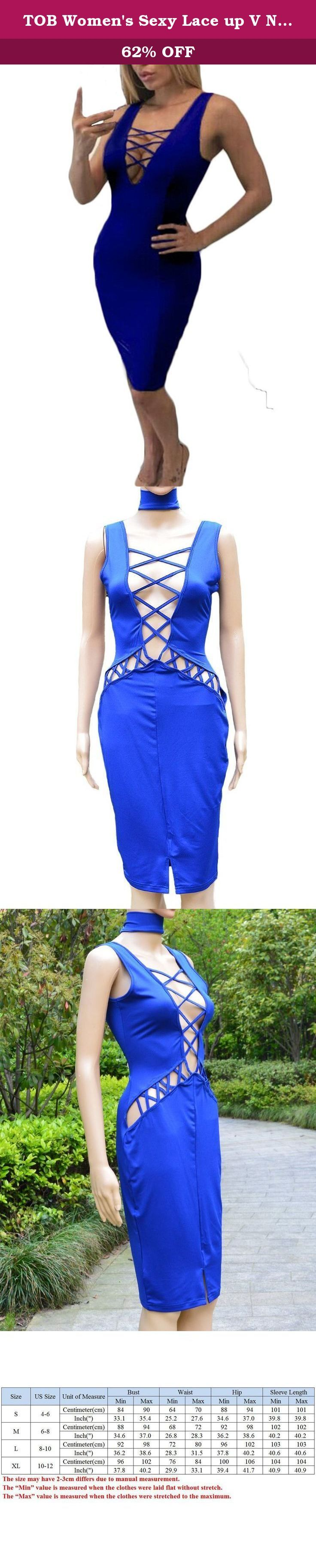 TOB Women's Sexy Lace up V Neck Bodycon Midi Pencil Tank Dress Night Club Royal Blue. About TOB Apparel TOB is a vogue brand which is dedicated to provide fashion clothes with high quality and affordable prices. We see our customers' experience as the life of the brand. We will do our best achieve 100 percent customer's satisfactory. We design our own model of latest trend and we have execllent factory working with us. In order to make sure that you have a good shopping experience, we...