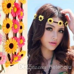 Wholesale Bohemian Headband for Women Three Flowers Braided Leather Elastic Headwrap Sun Flower Hair Band Assorted Colors Hair Ornaments from Helenqiu,$0.48   DHgate.com