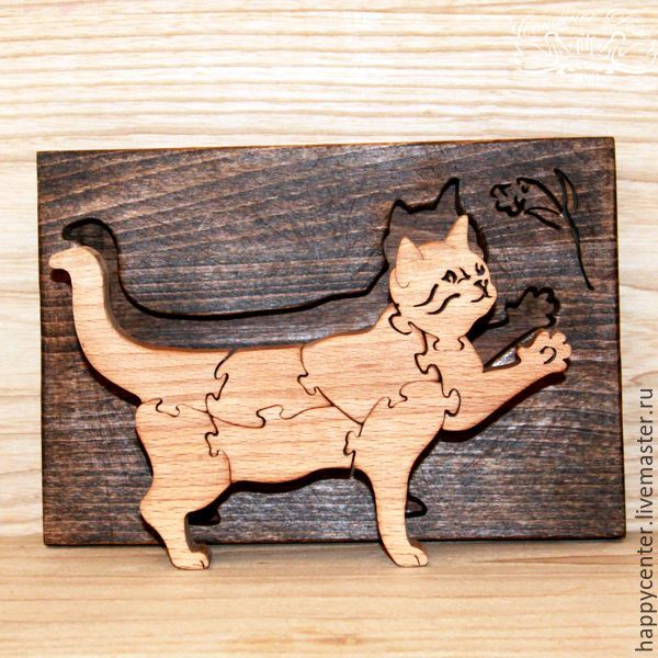 """Купить Пазлы подарочные из бука. Сувенир из дерева """"Котенок"""". - пазлы, пазлы из дерева, деревянные пазлы"""