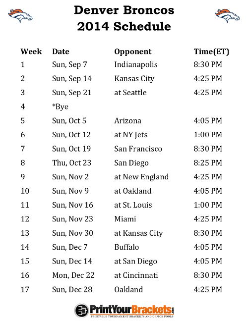 Printable Denver Broncos Schedule - 2014 Football Season