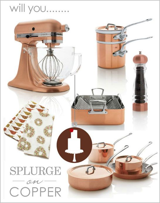copper kitchen tools from CB. I have this exclusive kitchen aid...amazing gem! My fave metal...along with iron.