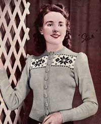 """free knitting pattern """"Ladies Star"""" cardigan from Charm Book 8, early 1940s."""