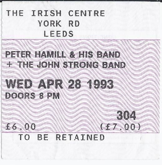Peter Hammill & Band USED CONCERT TICKET Leeds Irish Centre 1993 Van de Graaf